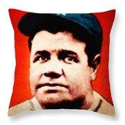 Babe Ruth, Portrait Throw Pillow