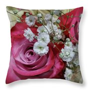 Baby's Breath And Roses Throw Pillow