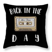 Back In The Day 80s Cassette Funny Old Mix Tape Throw Pillow