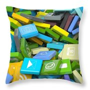 Background Crowded With Various Beveled Square Apps  Throw Pillow