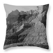 Badlands South Dakota Black And White Throw Pillow