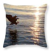 Bald Eagle At Sunset Throw Pillow