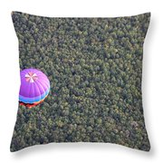 Balloon Over Forest Throw Pillow