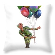 Balloons And Happy Guy Throw Pillow