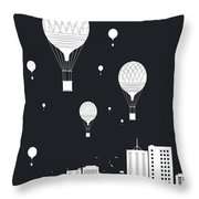 Balloons And The City Throw Pillow