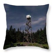 Balsam Lake Mountain Firetower Moonlight Throw Pillow by Brad Wenskoski