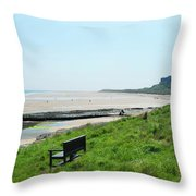 Bamburgh Castle And Beach Throw Pillow