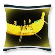 Banana Boat Mining Company Black Frame Throw Pillow