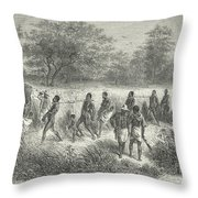 Band Of Captives In The Village Of Mbame Throw Pillow