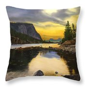 Bow River Sunrise  Throw Pillow by Sharon Duguay