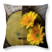 Banjo And Two Sunflowers Throw Pillow