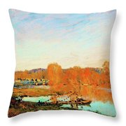 Banks Of The Seine Near Bougival - Digital Remastered Edition Throw Pillow