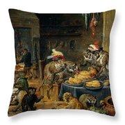 Banquete De Monos   Throw Pillow