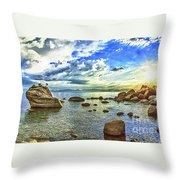 Bansai Rock, Lake Tahoe, Nevada, Panorama Throw Pillow