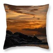 Barbados Sunset Clouds Throw Pillow