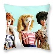 Barbies On Blue Throw Pillow