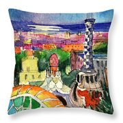 Barcelona By Moonlight Watercolor Painting By Mona Edulesco Throw Pillow
