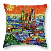 Barcelona Orange View - Sagrada Familia View From Park Guell - Abstract Palette Knife Oil Painting Throw Pillow