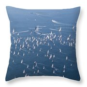 Barcolana Regatta 2018 Throw Pillow by Helga Novelli