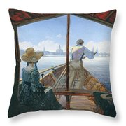 Barge Trip On The Elbe Near Dresden, Morning On The Elbe, 1827 Throw Pillow