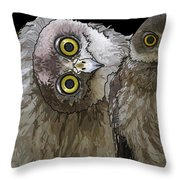 Barking Owls 2 Throw Pillow