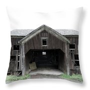 Barn 1886, Old Barn In Walton, Ny Throw Pillow by Gary Heller