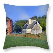 Barn - Silo - Cows Throw Pillow