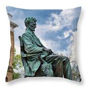 Bascom Hall Lincoln Statue Throw Pillow