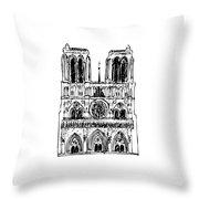 Basilica Notre Dame Throw Pillow