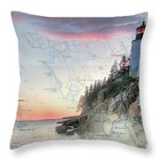 Bass Harbor Lighthouse On A Chart Throw Pillow
