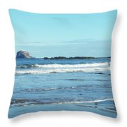 Bass Rock And Beach At North Berwick Throw Pillow