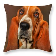 Basset Dog Portrait Throw Pillow