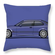 Bavarian E36 3-series M-drei Coupe Techno Violet Throw Pillow