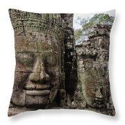 Bayon Faces, Angkor Wat, Cambodia Throw Pillow
