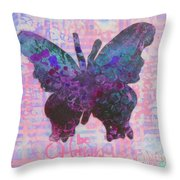 Be Happy Butterfly Throw Pillow
