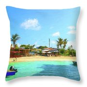 Beach Front At Island Harbour Anguilla Throw Pillow by Ola Allen