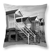 Beach Huts Sunset In Black And White Throw Pillow