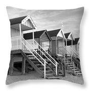 Beach Huts Sunset In Black And White Square Throw Pillow
