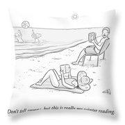 Beach Reading Throw Pillow