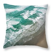 Beach Waves From Above Throw Pillow