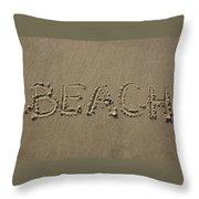 Beach Written Text  Throw Pillow