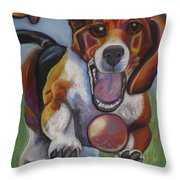 Beagle Chasing Ball Throw Pillow