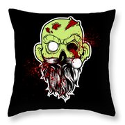 Bearded Zombie Undead With Beard Halloween Party Dark Throw Pillow