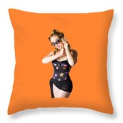Beautiful 1950s Pinup Woman Listening To Sea Shell Throw Pillow