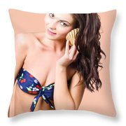 Beautiful Beach Babe Over Studio Background Throw Pillow