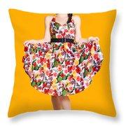 Beautiful Dancing Woman In Retro Red Dress Throw Pillow