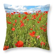 Beautiful Fields Of Red Poppies Throw Pillow