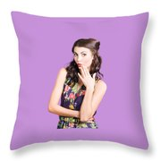 Beautiful Girl With Red Lips Expressing Surprise Throw Pillow