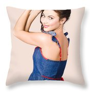Beautiful Pin Up Woman. Rockabilly Retro Fashion Throw Pillow
