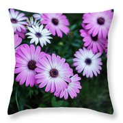 Beautiful Pink Flowers In Grass Throw Pillow
